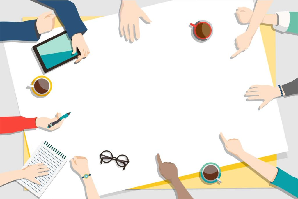 illustration montrant une équipe brainstormer